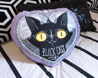 Black Cats Club Pillow- Soft minky decor bed accessory