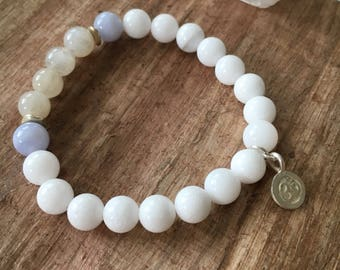Beaded gemstone bracelet, wrist mala with stamped om charm