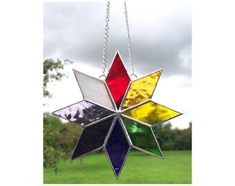 Stained Glass Multi Coloured Star Suncatcher Decoration