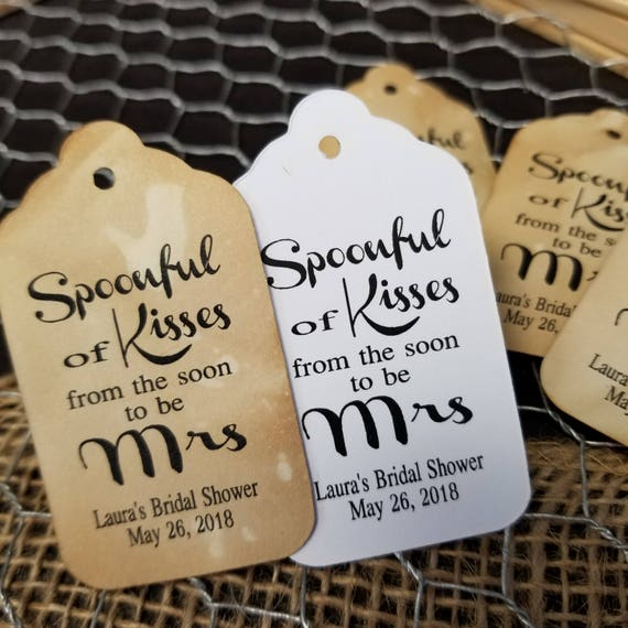 Spoonful of Kisses from the SOON TO BE Mrs Personalized Wedding shower Favor Tag Choose your Quantity