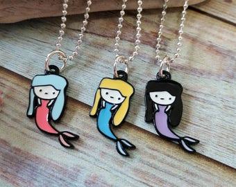 Enameled Mermaid Pendant Necklace-Mermaid Necklace-Girl's Mermaid Necklace-Blonde Mermaid-Girls Necklace-Easter Basket Gift
