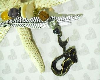 GEMSTONE MERMAID, Charm BOOKMARK, Tibetan Silver, Beaded Charm, Metal Hook Bookmark