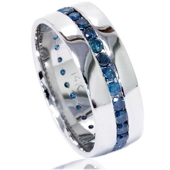 Blue Diamond Ring Mens Blue Diamond Wedding Ring 125CT Blue