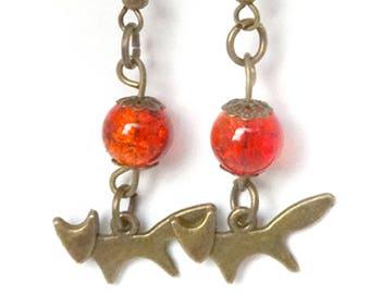 Orange Fox Earrings
