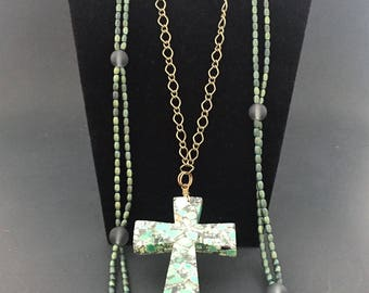 Green Brass Charcoal Necklace Cross 2 Pc