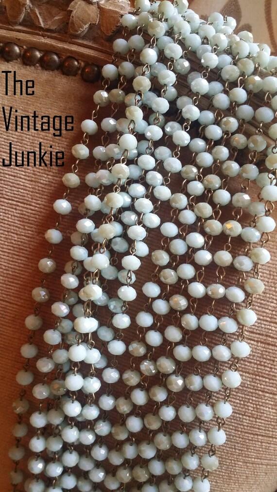 Long Layering Aquamarine Crystal Beaded Necklaces