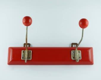 Vintage wooden coat rack, retro hooks, old hangers