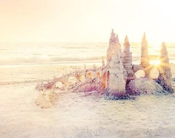 "Sandcastle Art, Beach Photography, Beach Print, Nursery Art, Coastal Decor, Seascape, Nautical, Bathroom Art, Pink, Yellow ""Sandcastle"""
