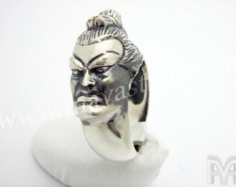Sterling Silver Yokozuna Sumo Wrestler Fight Ring Bague