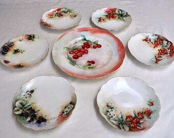 Bavarian dessert set, hand painted plates