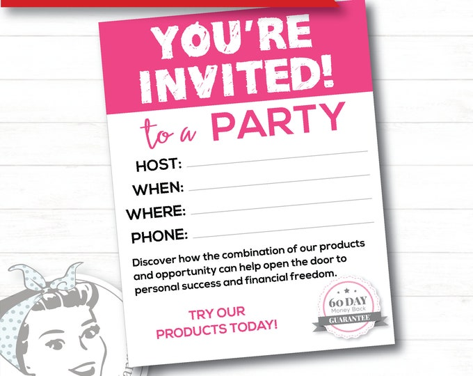 Pink Party Invite - Instant Download