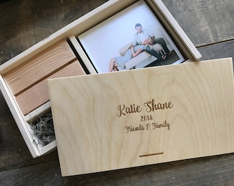 5x5 Wood print box with photo stand and enough space for 5x5 prints and usb drive - (spanish moss included)