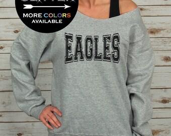 Eagles Off Shoulder Sweatshirt Raw Edge GLITTER // eagles shirt, eagles football, eagles band, eagles basketball, Plus Sizes (Black Glitter)