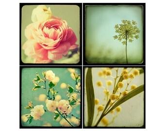 SALE Flower Prints, Botanical Print Set, Vintage Style, Set of 4 Prints, Botanical Prints, Fine Art Prints, Gift for Mom, Floral Art