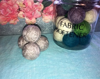 Gray Wool Dryer Balls, Wool Dryer Balls, eco friendly dryer balls, reusable fabric softener, wool laundry balls