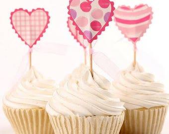 READY TO SHIP Pink Hearts Wedding Themed Cupcake Toppers, Toppers, Picks, Cake Toppers, Cake Topper Pick, Cupcake Picks, Bachelorette