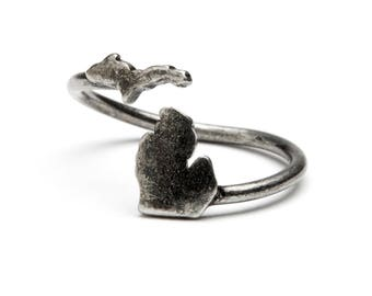 Michigan Ring - State of Michigan Jewelry - Antique Silver - Adjustable