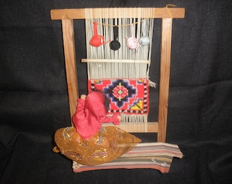 Weaving Loom Handweaving Display withCelluloid Doll
