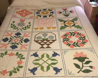 "Vintage Hand Cross Stitched Quilt Top newly Quilted Queen/king size 97"" x 99"", large"