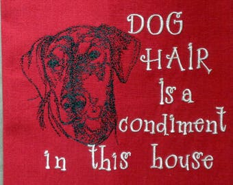 Dog Hair is a Condiment - Tea Towel - Kitchen Towel - Dish Towel - Home Decor - Breed Outline - Lab Mix