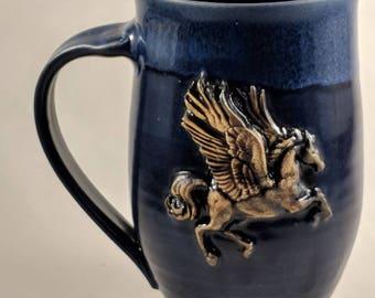 Pottery coffee mug featuring a Pegasus approximately 16 oz handmade ceramic mug in blue