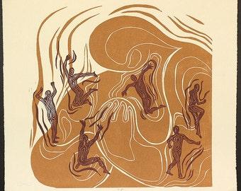 Woodblock Print Mother Earth Tender Hug Handful of Children Surreal Tan Copper Original Woodcut