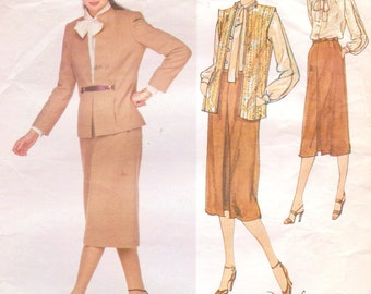 80s Edith Head Womens Jacket or Vest, Bow Tie Blouse & Skirt Vogue Sewing Pattern 2220 Size 12 Bust 34 Vogue American Designer Pattern