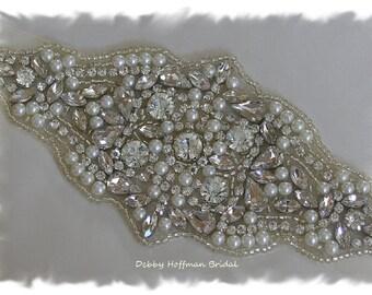 Rhinestone Crystal Pearl Wedding Sash, Rhinestone Pearl Wedding Dress Belt, Pearl Crystal Bridal Belt, Jeweled Bridal Sash, No. 5000S1.5