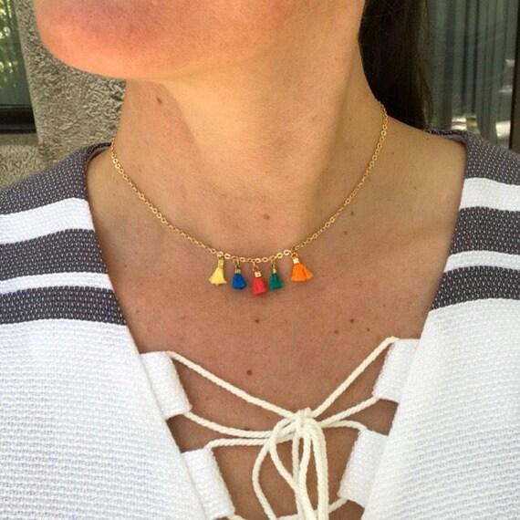 Tassel Necklace, choker necklace, boho jewelry, tassels jewelry