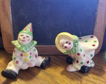 Clown, salt and pepper shakers,  made in Japan