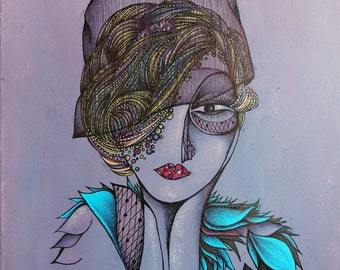 Original Art Print, Portrait of 1920's Style Woman Wearing Turquoise, Feather Scarf, Purple, Violet, Lavendar, modern art, portrait