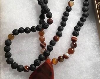 Agate, tigers eye, lava stones, long necklace, boho,