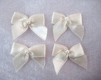 Ivory Cream Satin Ribbon Bows with Pearl Center  for Wedding Favors, Crafting, Sewing, Invitation Cards - 1 inch / 25 mm, 30 or 50 pieces