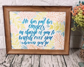Handmade gift - christian bible verse hand lettering watercolor painting poster (floral n leaves)