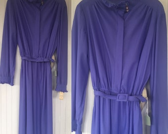 Vintage NWT 70s Periwinkle Blue Dress Size L Fits  8 10 12 14 Wedding Mother of Bride Long Sleeved 1979 80s Spring Summer Bridesmaid Sheer