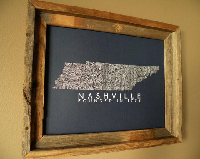 History of Nashville Word Map (Dark Blue) Unframed