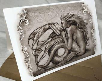 Reading  Mermaid, Greeting Card by Renae Taylor