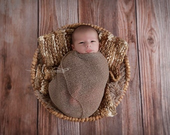 Chunky Yarn Layering Blanket for Boys Photo Shoots, brown, taupe, tan and ivory, handmade, photo prop by Lil Miss Sweet Pea Boutique