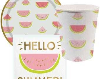 Watermelon Paper Cups Plates and Napkins