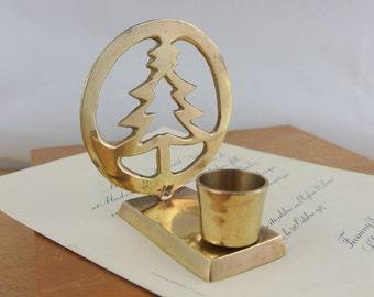 Small Vintage Brass Christmas Tree Candle Holder |  Vintage Xmas Decor