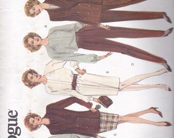 Vogue 2990 Vintage Pattern Womens Double Breasted Jacket, Top, Dress, Tapered Skirt and Pants  Size 8,10,12 UNCUT