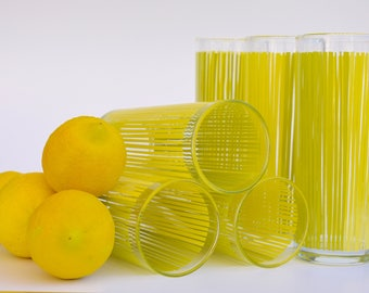 set of 6 yellow and green striped vintage glasses; retro barware