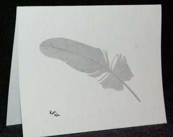Feather Card - Feather Charcoal Drawing Notecard, Blank Notecard, Gift Card, Greeting Card, Thank You Card, Birthday Card, Art Card