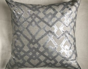 Hand Blocked Silver Linen Pillow 24""