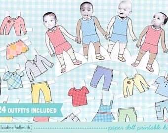 BABY paper doll set - easy for you to customize with your own photos - printable PDF - instant download