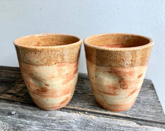 Ceramic Tumblers set of two with indents pottery handmade wheel thrown and altered, yellow, tan, beige, brown