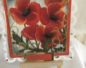 Handmade and Hand Painted Poppies Greetings Card. All Occasions.