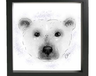 Polar bear painting // polar bear print // polar bear drawing // polar bear christmas decor // christmas wall art // polar bear art