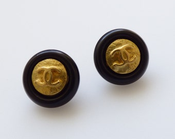 Chanel Vintage Stamped Gold CC Black Button 12mm / Price is for one button