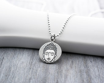 Buddha Head Necklace in Sterling Silver, Buddha Necklace, Buddha Jewelry, Buddha Jewelry Necklace, Buddhist Necklace, Zen Jewelry